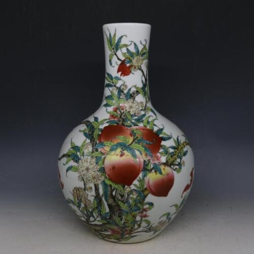 Chinese Old Marked Famille Rose Colored PEACHES Porcelain Celestial Bottle VASE