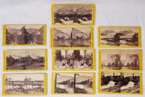 Antique Set of 10 Stereoscope Viewer Cards GLORIES OF YOSEMITE VALLEY Anthony