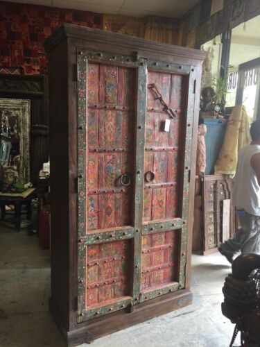 Indian Antique Armoire Furniture Floral Hand Painted Vintage Storage Cabinet