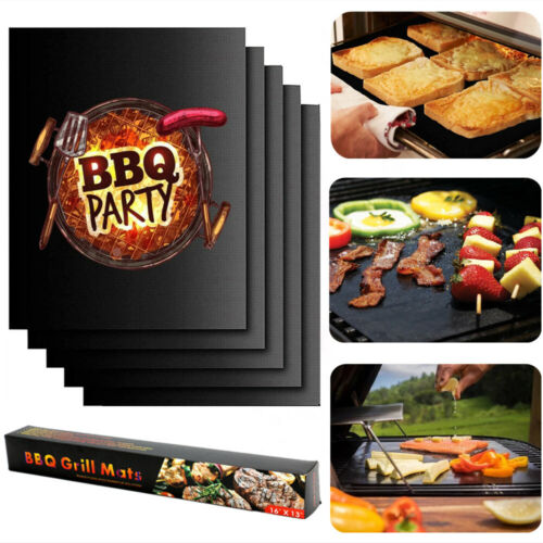 5x Bbq Grill Mat Non-stick Oven Liners Teflon Cooking Baking Reusable Sheet Pads