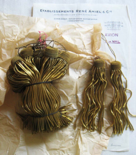 "Amazing Price 6 Vintage/Antique French Dark Gold Metallic Bullion 4.5"" Tassels"