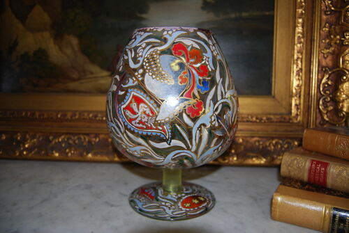 RARE MOSER JOSE CIRE ROYO LARGE HAND PAINTED SIGNED VASE IN SHAPE OF LARGE CUP