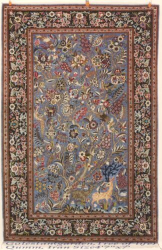 Persian Rug 2, Pre-Revolution Qum high quality wool with Persian silk flower