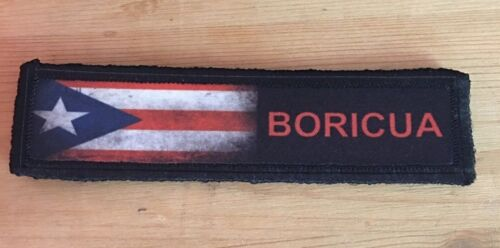 1x4 Boricua Puerto Rico Flag Morale Patch Military Tactical Army Badge Hook TabArmy - 48824