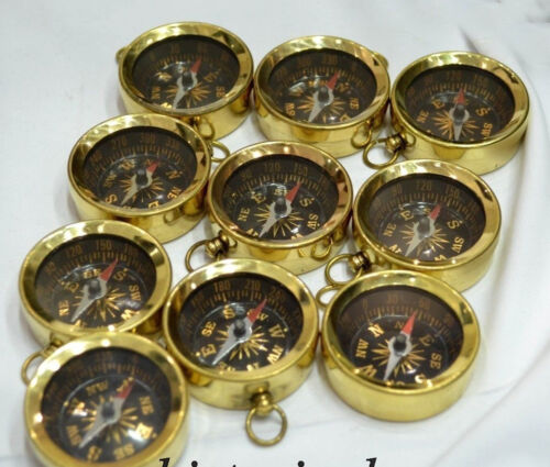 LOT OF 50 UNITS BRASS COMPASS FOR KEY CHAIN NAUTICAL INSTRUMENT MARINE GIFT PROP
