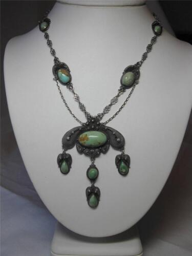 Chinese Export Turquoise Silver Necklace Antique Festoon Victorian c1880 Rare!
