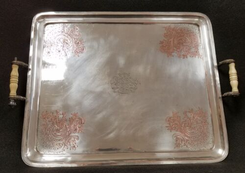 Large Antique Sheffield Silver On Copper Serving Tray Armorial Family Cartouche