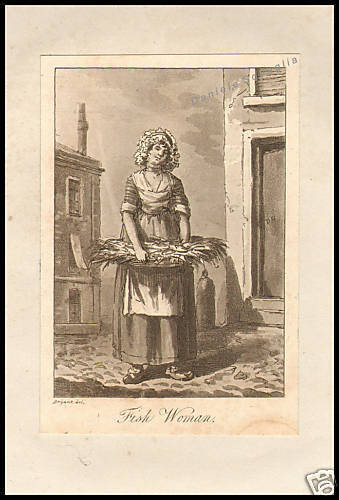 INCISIONE ORIGINALE 1700 MESTIERI INGLESI FISH WOMAN