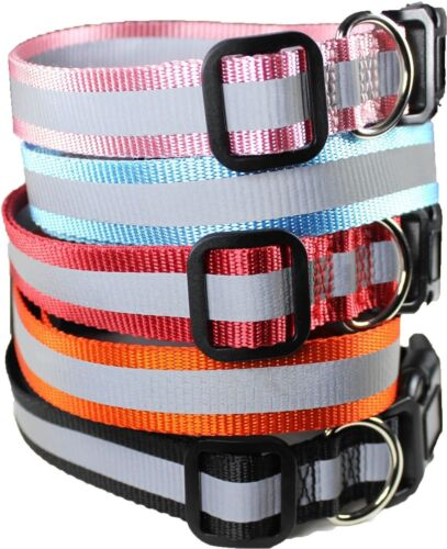 Dog Pet Puppy Collar Reflective Safe Nylon For Small & Big Large Dogs XXS - XL