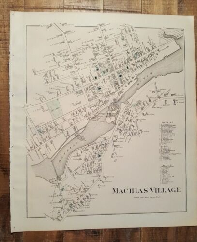 ANTIQUE Colored Map/MACHIAS VILLAGE/LONGFELLOWS ISL,ME-George N. Colby & Co.1881