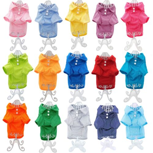 Cute Dog Puppy Cat Polo Shirt T-Shirt Solid Clothes Apparel For SMALL Pet XXS- M