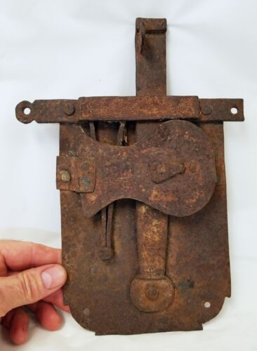 Early Antique Hand Wrought Iron Lock with Punch Design