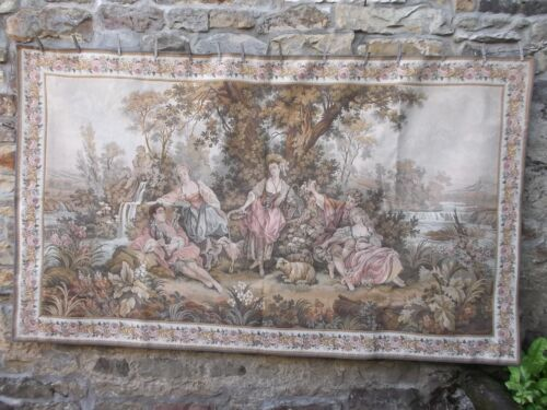 French JP gorgeous tapestry  charming pretty country scene large   48'' x 82''