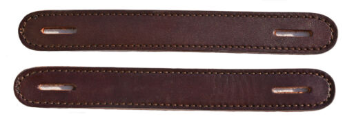 Lot of 2 Havana Leather Double & Stitched Slotted Steamer Trunk Handles #100HAV