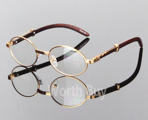 Womens Men Retro Vintage Clear Lens Gold Wood Frame Fashion Designer Eye Glasses