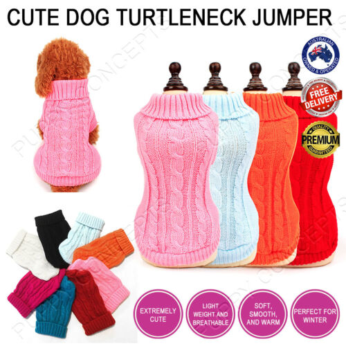 Cute Warm Turtleneck Jumper Knitwear Coat Sweater Apparel Soft Pet Dog Puppy Cat <br/> OVER 1500+ SOLD! MELBOURNE STOCK! TRUSTED AU SELLER! 🐶