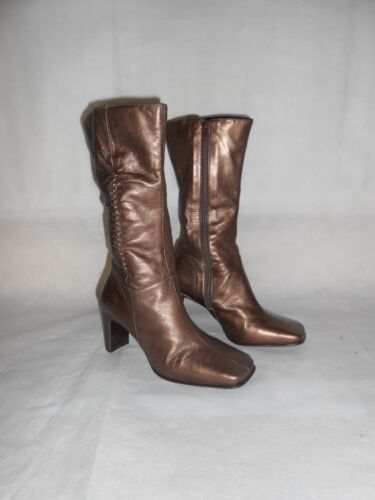 Women Bronze Mid-Calf Boots Real Soft Leather Elegant DB Classic Size 3.5