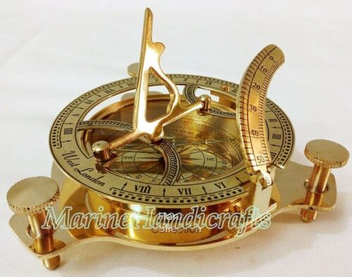 Set of 5 Solid Brass Sundial Compass Maritime Vintage West London Marine Working