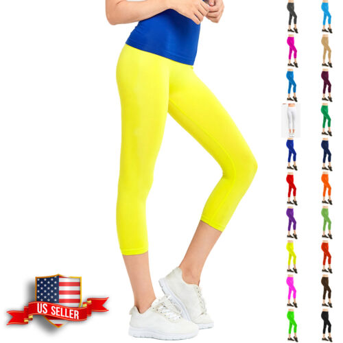 Womens Capri Leggings Pants Yoga Cropped Seamless Women Solid Basic Stretch