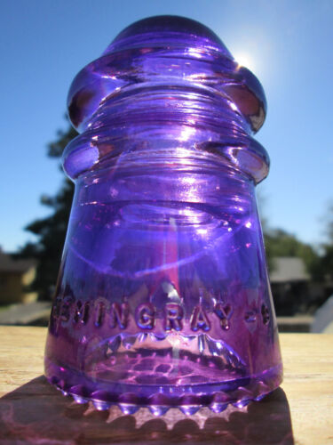 Vintage Hemingray 9 Deep Purple Glass Insulator Colored / Stained CD 106