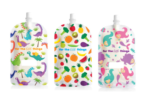 Sinchies 200ml Reusable Food Pouches BPA Free Fruit, Mermaid, Dinosaur or Mixed <br/> Zip lock Latest designs with Mermaids, Dinosaurs, Fruit