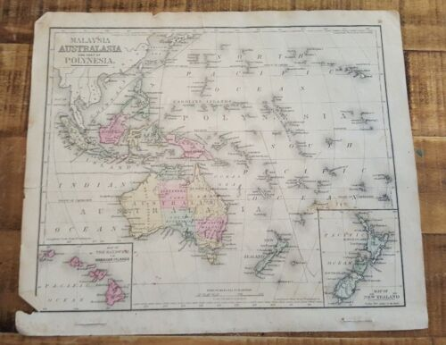 Antique Hand Colored MAP - AUSTRALASIA/MALAYSIA / Common School Geography 1873