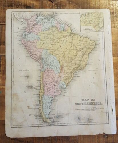Antique Hand Colored MAP - SOUTH AMERICA - Common School Geography 1873