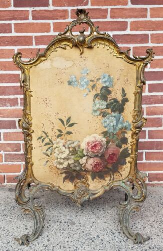 Antique French Louis XV Gold Gilt Bronze High Rococo Fire Screen