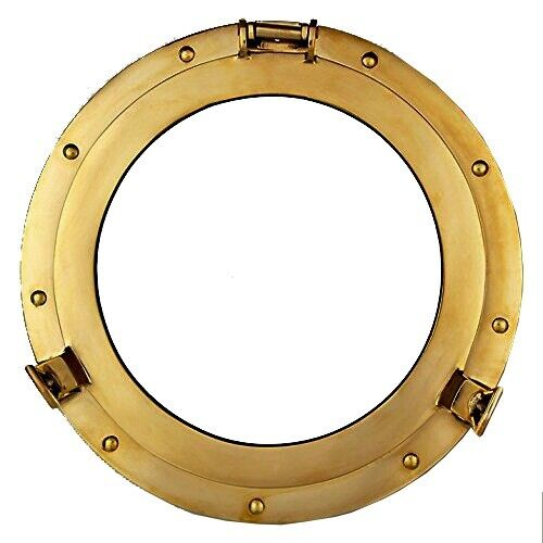 "15"" Maritime Brass Porthole Round Window Glass Nautical Boat Ship Porth Mirror"