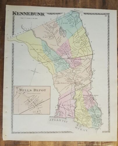 Antique Colored MAP - KENNEBUNK, MAINE (49) - / Atlas York County, ME - 1872