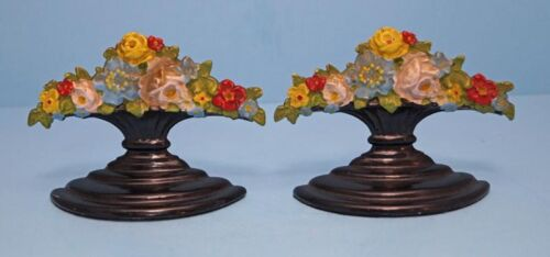 ANTIQUE MIXED GARDEN FLOWERS IN URN CAST IRON BOOKENDS CIRCA 1920's