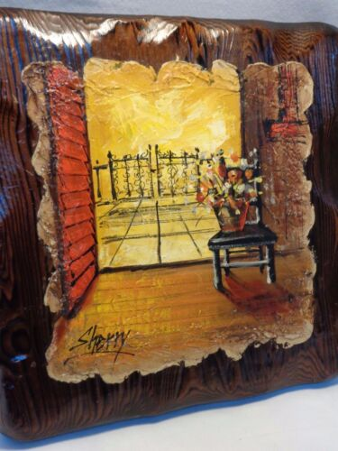 Vtg Mid Century SPANISH IRON GATE CHAIR WOOD PAINTING Wall Hanging Art Picture
