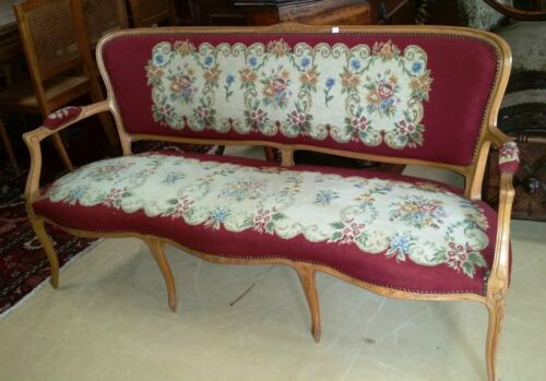 "Antique French Needlepoint Louis XV Style Settee Sofa Bench  L 63"" x H 33.5"""