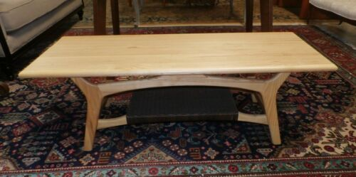Mid Century Modern Style Solid  Ash Coffee Table with Rattan Shelf Midcentury