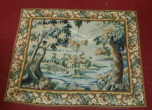 """Tapestry Landscape with Bridge 35""""x45"""" Foret de Marly Hunting Ground of Fr Kings"""
