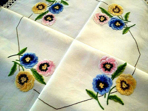 Charming Pansy Flowers  ~ Vintage Hand Embroidered Tablecloth