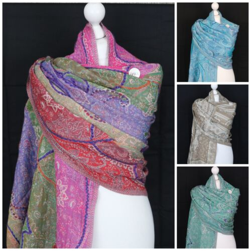 WARM THICK Blanket Wrap Ladies Ombre Boiled Wool Shawl Winter Embroidered Scarf