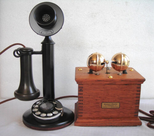 WESTERN ELECTRIC 51AL #2 DIAL ANTIQUE TELEPHONE VERY RARE LARGE SLEIGH BELLS