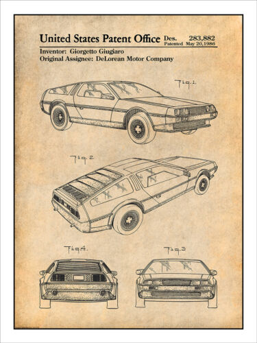 1981 DeLorean Automobile Patent Print Art Drawing Poster 18X24
