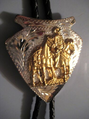 Vintage ADM Cowboy Horses in Silver & Gold Tone String Bolo Tie Black Lariat New