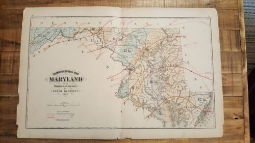 Antique, Colored CLIMATOLOGICAL MAP OF MARYLAND & DC / 1873 Topographical Atlas
