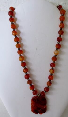 Antique Chinese Carved Orange Carnelian Agate Bead Necklace - 17""