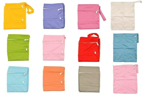 Plain Colour Double Zip Waterproof Baby Wet Bag Nappy Bag White Blue Yellow Pink