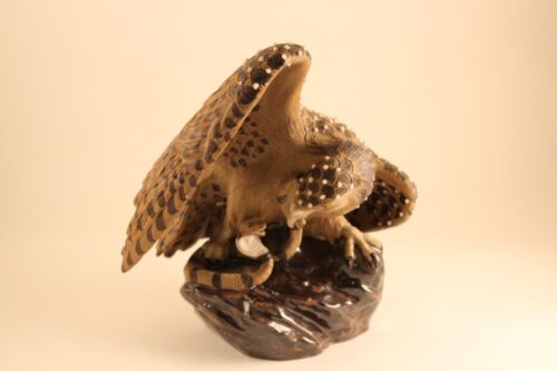 Chinese Pottery Beaded Hawk Eagle & Snake Sculpture Figurine Marked China 253