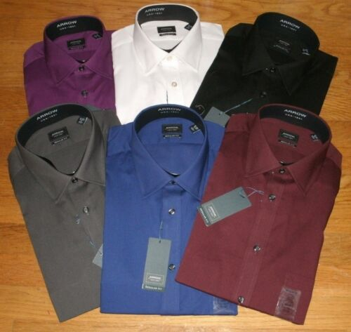 Men's Arrow Regular Fit  Solid Textured Dress Shirt Assorted Colors & Sizes New