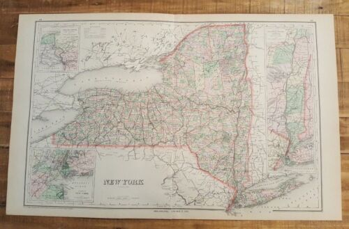 Antique Colored MAP/Gray's - NEW YORK - The National Atlas 1893