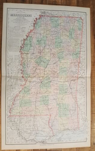Antique Colored MAP/Gray's - MISSISSIPPI - The National Atlas 1893