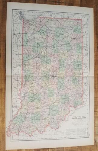 Antique Colored MAP/Gray's - INDIANA - The National Atlas 1893