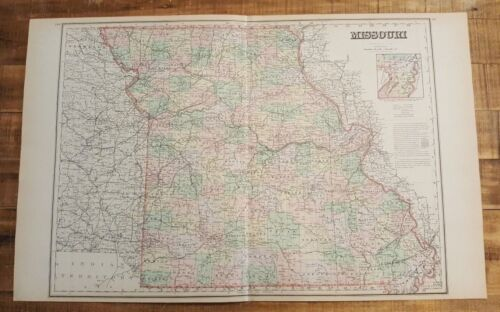 Antique Colored MAP/Gray's - MISSOURI - The National Atlas 1893