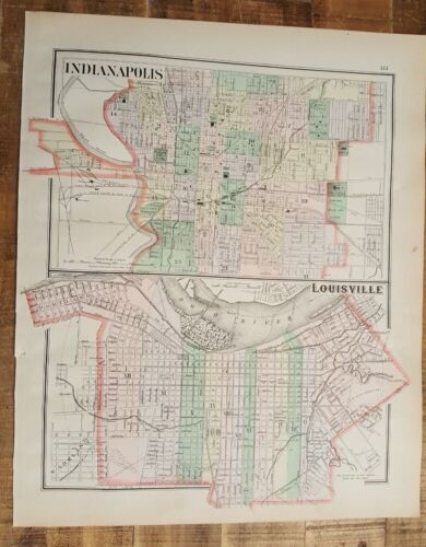 Antique Colored MAP/Gray's - INDIANAPOLIS & LOUISVILLE - The National Atlas 1893